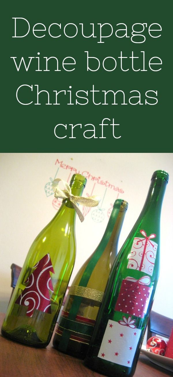 Use Mod Podge and wrapping paper to create this easy, unique DIY wine bottle Christmas craft! This is a great recycled / dollar store project for the holidays. Turn them into candle holders or a unique centerpiece. via @modpodgerocks