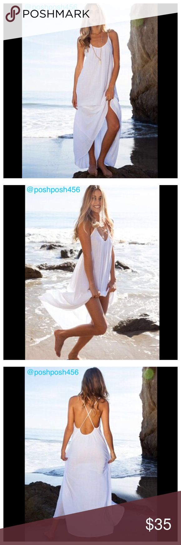 Long white bathing suit cover-up Long white bathing suit cover-up. Material is a bit see through to show off your cute bathing suit.    ✨Size-XL ✨ ✨Material- Chiffon✨ ✨New without tag comes in plastic bag✨ ✨Shipping- one business day Monday through Friday✨ Lee's boutique Swim Coverups