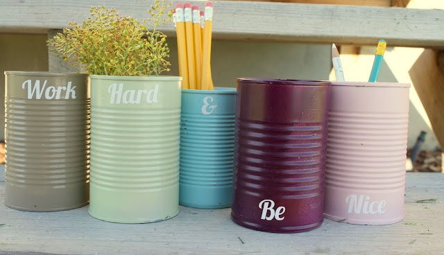 Spray painted soup cans