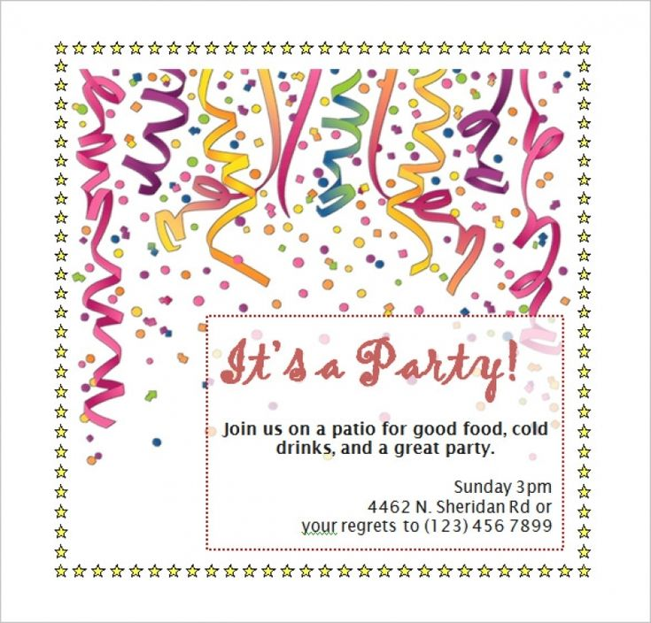Free Birthday Invitation Templates Microsoft Word | Doc.#800766: Free Party Invitation Templates For Word ...