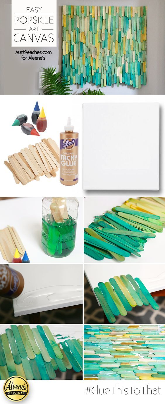 Dye some popsicle sticks and make a cool and modern canvas by applying them with Aleene's Tacky Glue! Click to see tutorial by @auntpeaches So cool!