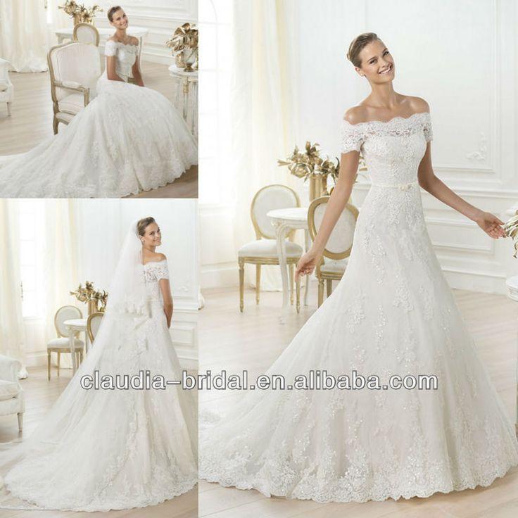 Le 001 Off Shoulder Short Sleeve Lace A Line Korean Wedding Dress
