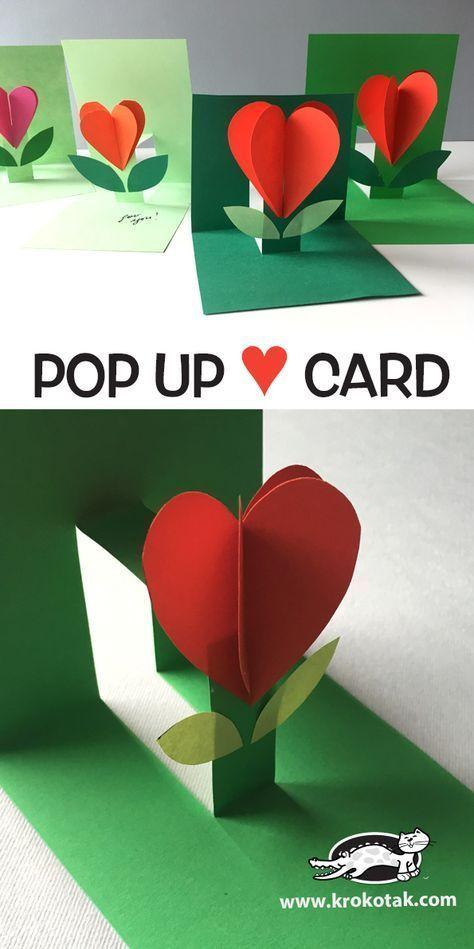 Pop Up Karte Blume/ Herz Muttertag