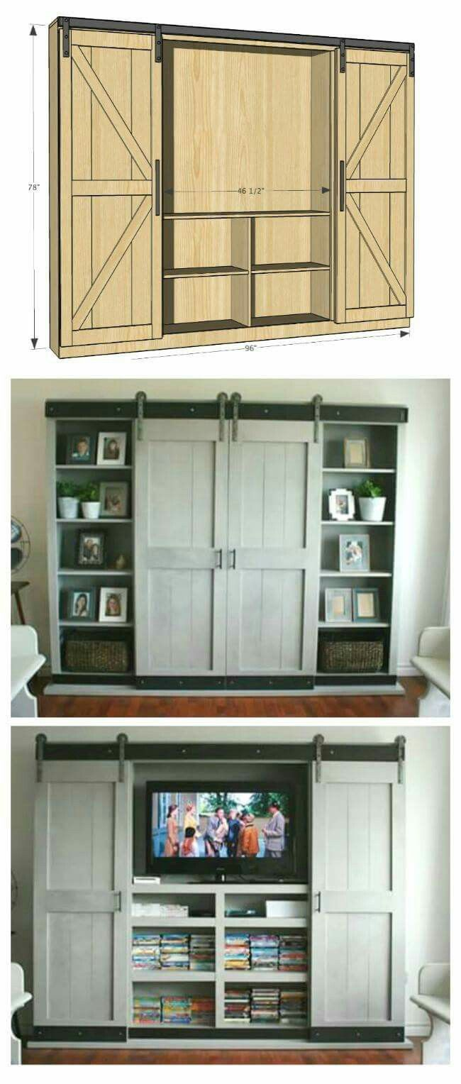Barn door, built it, hidden entertainment center. Would be great for a bedroom.