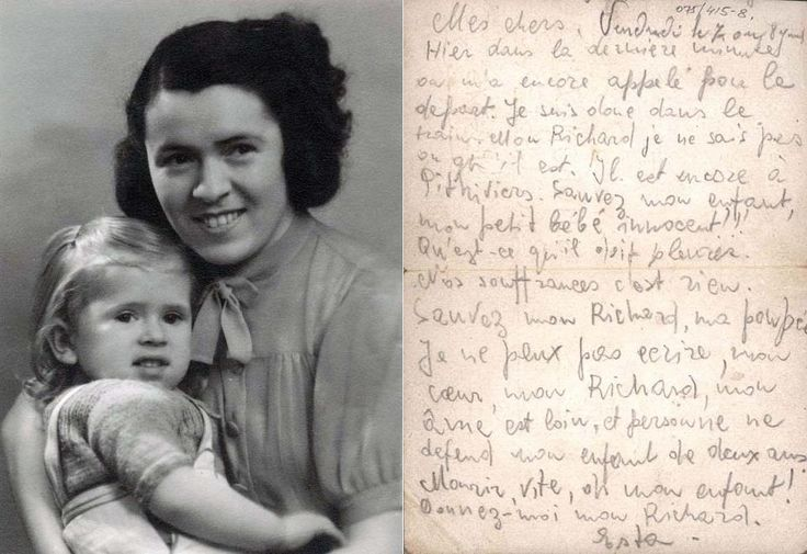 Esther (Estha) Frenkel neé Horonczyk threw this postcard out of the train as she was being deported to Auschwitz on 7 August 1942. Her 2 year old son, Richard, was left behind in Pithviers and was deported shortly thereafter. Both mother and son perished.