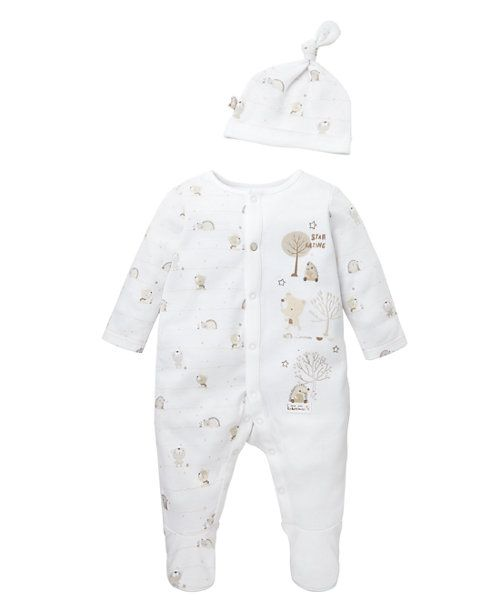 Unisex Bear and Hedgehog All In One and Hat Set http://www.parentideal.co.uk/mothercare---baby-clothes.html