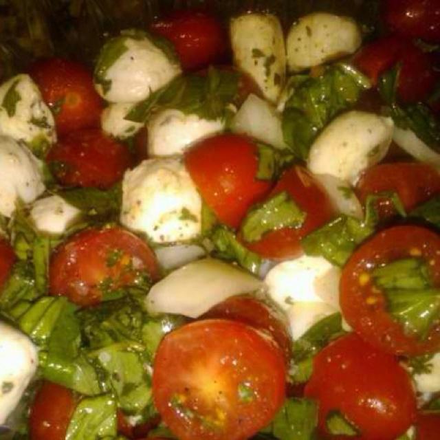Tomato, basil and mozzarella salad.