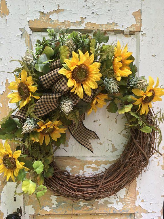 Summer Wreath for Front Door Rustic Summer Wreath Sunflower