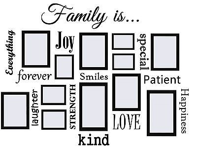 Family Is...Vinyl Wall Quote Decal Works Great with Picture Frames[Black]