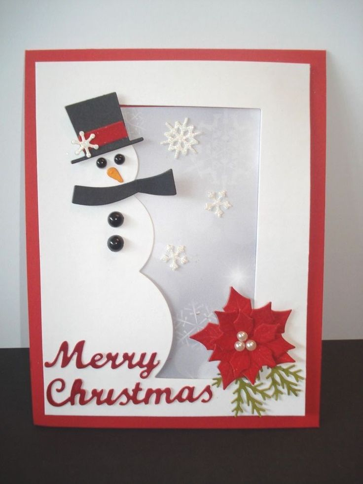 Handmade Christmas Card Kit (5) Snowman, Poinsettias, Snowflakes, Merry Christma #MemoryBoxIOStampsTayloredExpressions