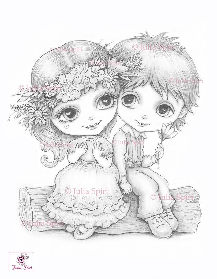 Love Coloring Pages Digital Stamp Digi Boy Girl Children