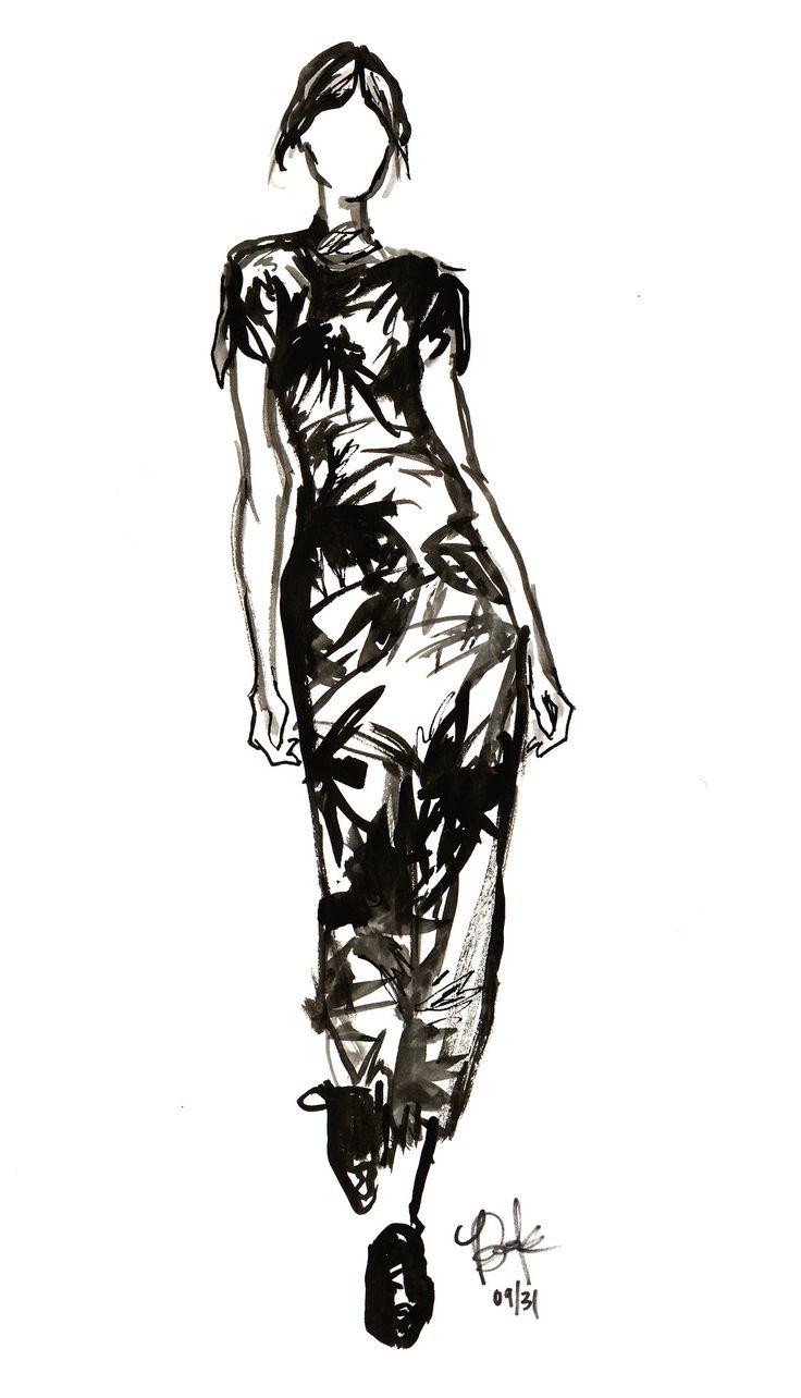 Fashion illustration of a tropical dress by Erdem // Briana Kranz