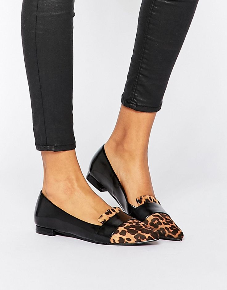 leopard point-toe loafer flats