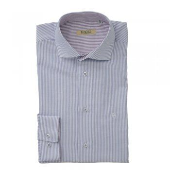 A timeless Oxford cotton blue and white striped shirt. The Jasper is a tailored fitting shirt. Features include, a contrasting inside-collar - purple and white, adjustable single cuff and wolfhound embroidery.