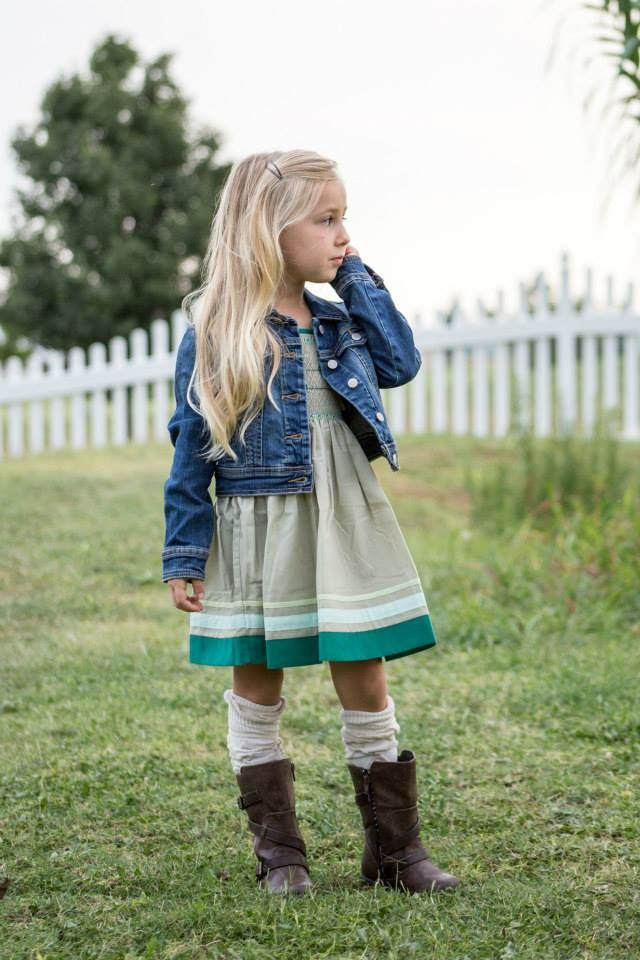 Well Dressed Wolf August 2015 BOAW (birds on a wire). It's gorgeous. Beyond gorgeous! Old Navy denim jacket, and again, Matilda Jane socks and her favorite Kenneth Cole boots.