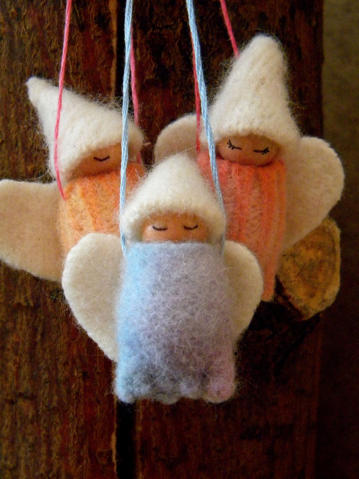 Waldorf Christmas Angel Ornaments, Holiday Ornaments, Angel Gnome Baby, Winter White, Rainbow, hand dyed, pink, peach, blue, lavender,. $27.00, via Etsy.
