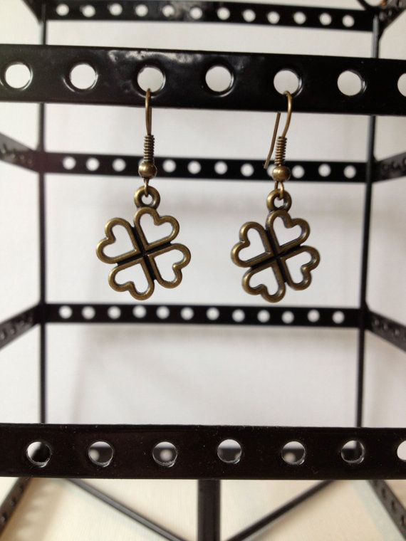Brass Four Leaf Clover Shamrock Dangle Earrings
