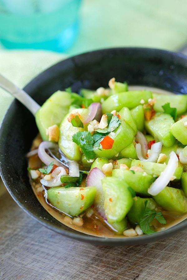 Thai Cucumber Salad - easiest and best homemade Thai cucumber salad recipe that is better than your favorite Thai restaurants, guaranteed | rasamalaysia.com