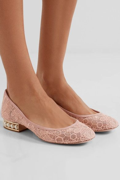 Heel measures approximately 20mm/ 1 inch Blush lace and suede Slip on Made in Italy