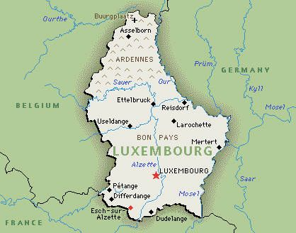 Map of Luxembourg ~ one of Europe's smallest countries bordered by Belgium to the west, Germany to the east, & France to the south.