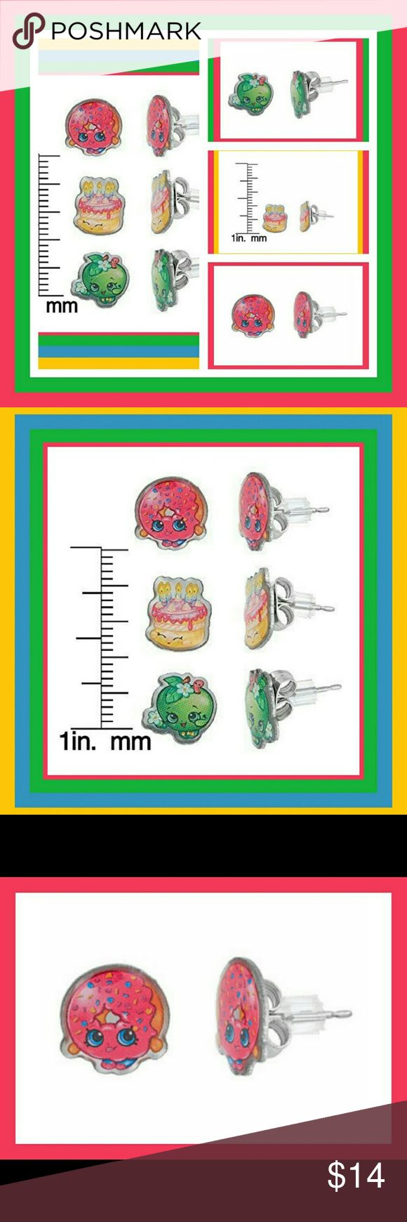 SHOPKINS STAINLESS STEEL EARRINGS TRIO KIDS SHOPKINS STAINLESS STEEL EARRINGS TRIO SET FOR GIRLS FROM MOOSE TOYS. D'LISH DONUT, APPLE BLOSSOM, WISHES PUT THE PERFECT FINISHING TOUCH ON HER FAVORITE OUTFIT WITH ANY OF THESE THREE (3)BEAUTIFUL & FUN PIERCED EARRINGS Moose Toys Accessories Jewelry