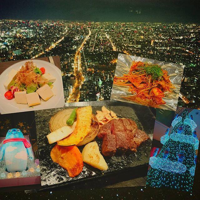Instagram【q_chan091566613】さんの写真をピンしています。 《Enでディナー🍴 : ヒレステーキ美味い‼ : 夜景も綺麗かったー✨ : #豆腐と彩り野菜のサラダ #黒毛和牛 #ヒレ #ステーキ #豚キムチ #味噌汁 #漬物 : #晩ご飯 #ディナー #en #鉄板焼き #あべのハルカス #ハルカス #展望台 #あべのベア #可愛い #夜景 #綺麗 #オンラインダイエット #ダイエット #筋トレ #ボディメイク #食べて痩せる #メリハリボディ》