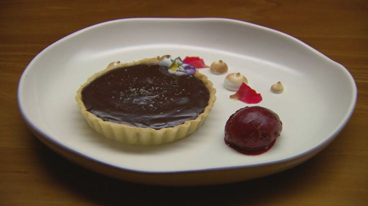 Salted Chocolate Tart with Beetroot Sorbet