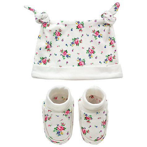 Buy Cath Kidston Baby Hankie Rose Hat & Bootie Set, One Size Online at johnlewis.com