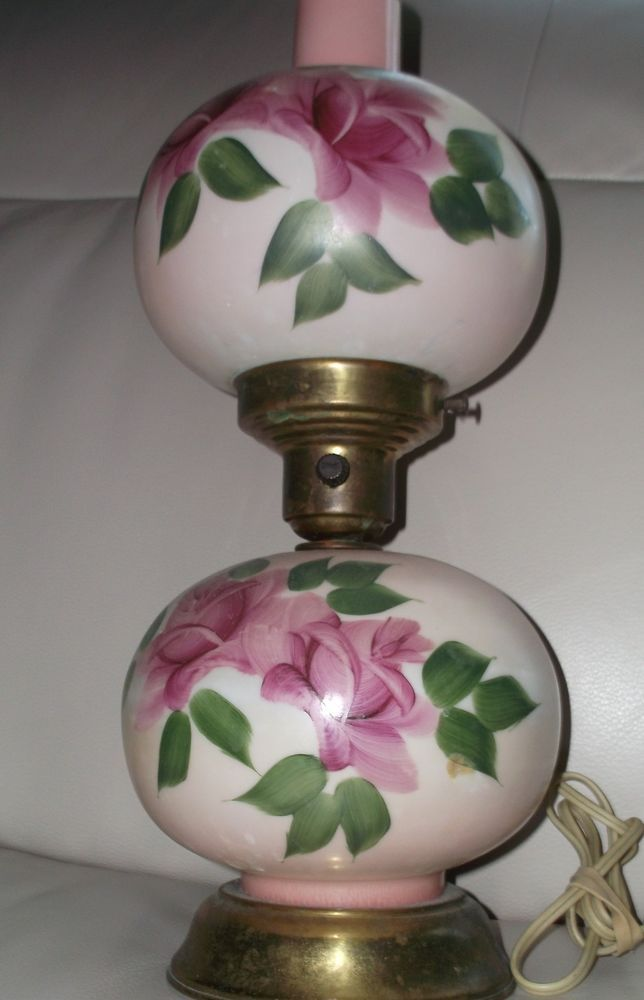 Beautiful Vintage Gone With The Wind 3 Way Globe Lamp With Hand Painted Roses Antique Gone