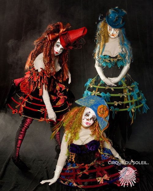 Cirque costumes , not a fan of the clown makeup but I love their cage skirts