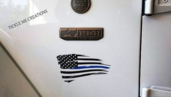 <<<<WHAT YOU ARE GETTING>>>> Want to show your support for police officers everywhere, use a thin blue line American flag decal. Show your pride with this tattered American flag decal that stays flying for years to come. Graphic is made from Orcal 651 indoor/outdoor vinyl, and can be customized if you would like something different. The Vinyl decal comes with transfer tape so that you can apply it to the smooth surface of your choice. #thinblueline  https://www.facebook.com/TickleMeCreations