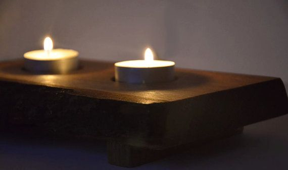 Large Wooden Candle Holder  Rustic candle stand  by KubuHandmade