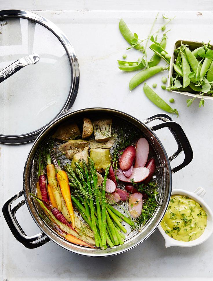 Steamed Spring Veggies with Garlic-Herb Aioli   Williams-Sonoma Taste