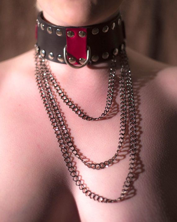 Black Leather Bondage Collar Slave Collar by TheLeatherLaboratory