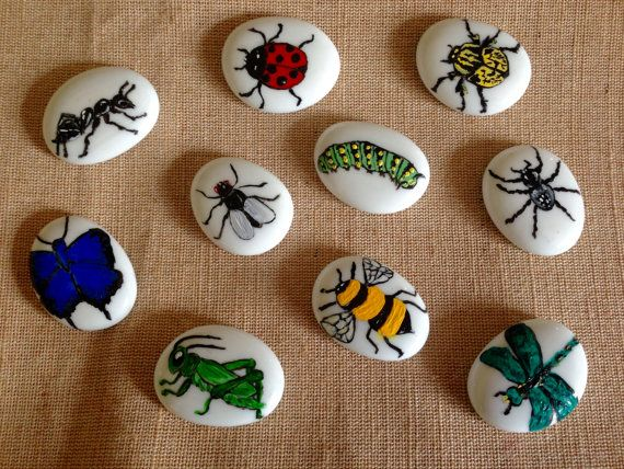 Story Stones, Insects, collection, sensory play, teaching tool, books, reading, learning, toys, imaginative play, art, hand painted, kids