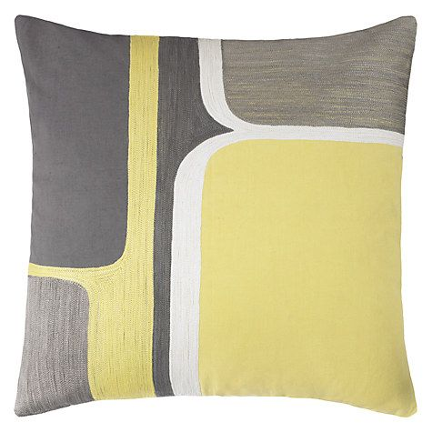 Buy John Lewis Geo Cushion, Citrine / Steel Online at johnlewis.com