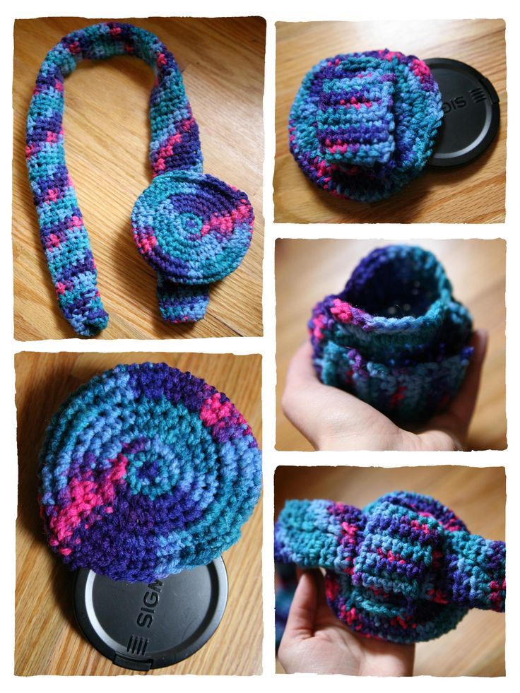 Crochet Camera Strap Cover and Lens Pouch - This lens pouch would be so cute on the strap. I'm always misplacing my caps :P - you could even crochet a flower onto the pouch to make it look more like a decoration