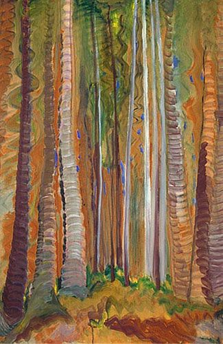 ☼ Painterly Landscape Escape ☼ landscape painting by Emily Carr, Forest (Tree Trunks), c. 1938-1939