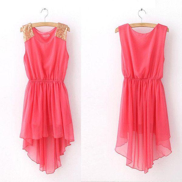 Watermelon Red Sequin Shoulder High-Low Chiffon Dress