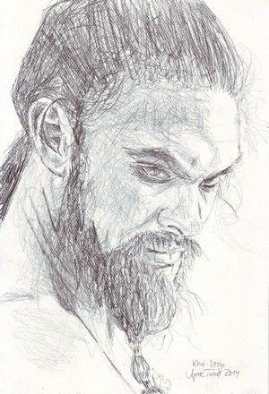 James Momoa as Khal Drogo in  Game of Thrones  Pencildrawing in 2014 http://aprilturner.jimdo.com/