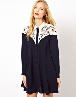 ASOS Shirt Dress With Colour Block Panels And Embroidery