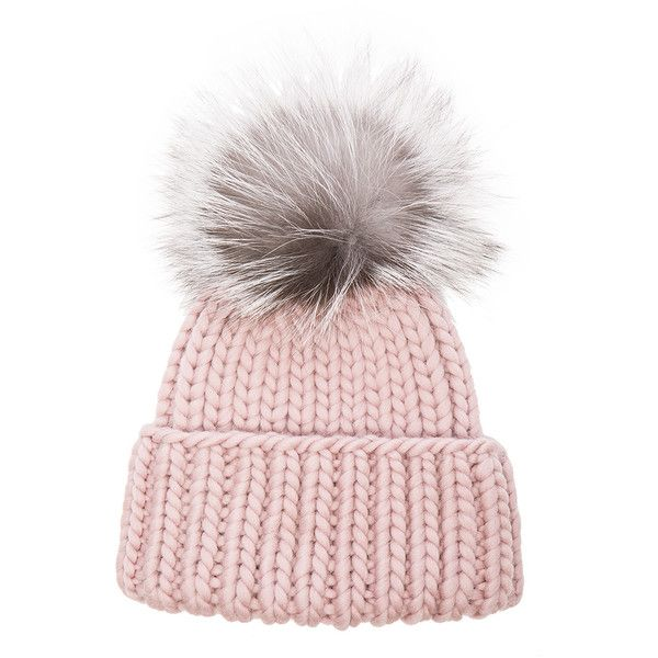 Eugenia Kim Rain Beanie (£218) ❤ liked on Polyvore featuring accessories, hats, beanie cap, beanie cap hat, pom pom beanie, pompom hat and fur hat
