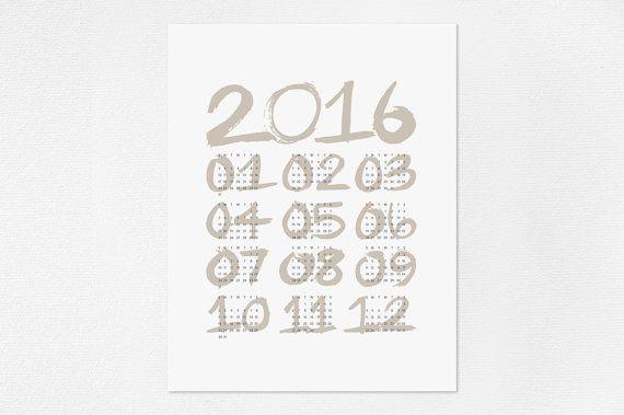 2016 Minimalist Wall Calendar  Brush Font por JaymeeSrpDesign
