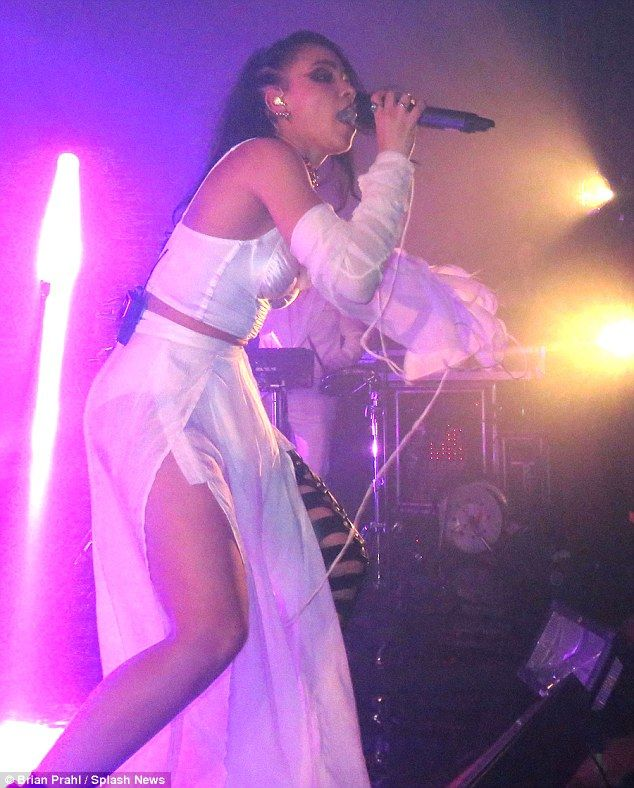 Doing her thing: Robert Pattinson's girlfriend FKA twigs certainly pulled out all the stops as she put on an energetic performance during her sold out show in Brooklyn on Monday