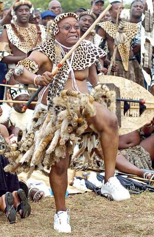 Africa | South African President Jacob Zuma dressed in traditional Zulu attire, dances at his wedding | Photo AFP