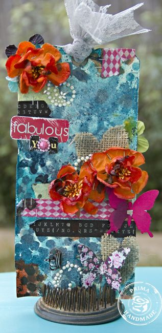 Tag by Leslie Ashe using Prima flowers and Washi Tapes