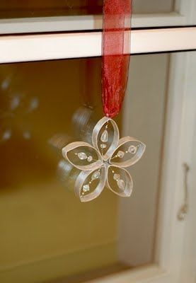 Toilet paper roll ornament made from empty roll of toilet paper, silver paint, silver thread, clear beads, glue, pegs and hanging ribbon.