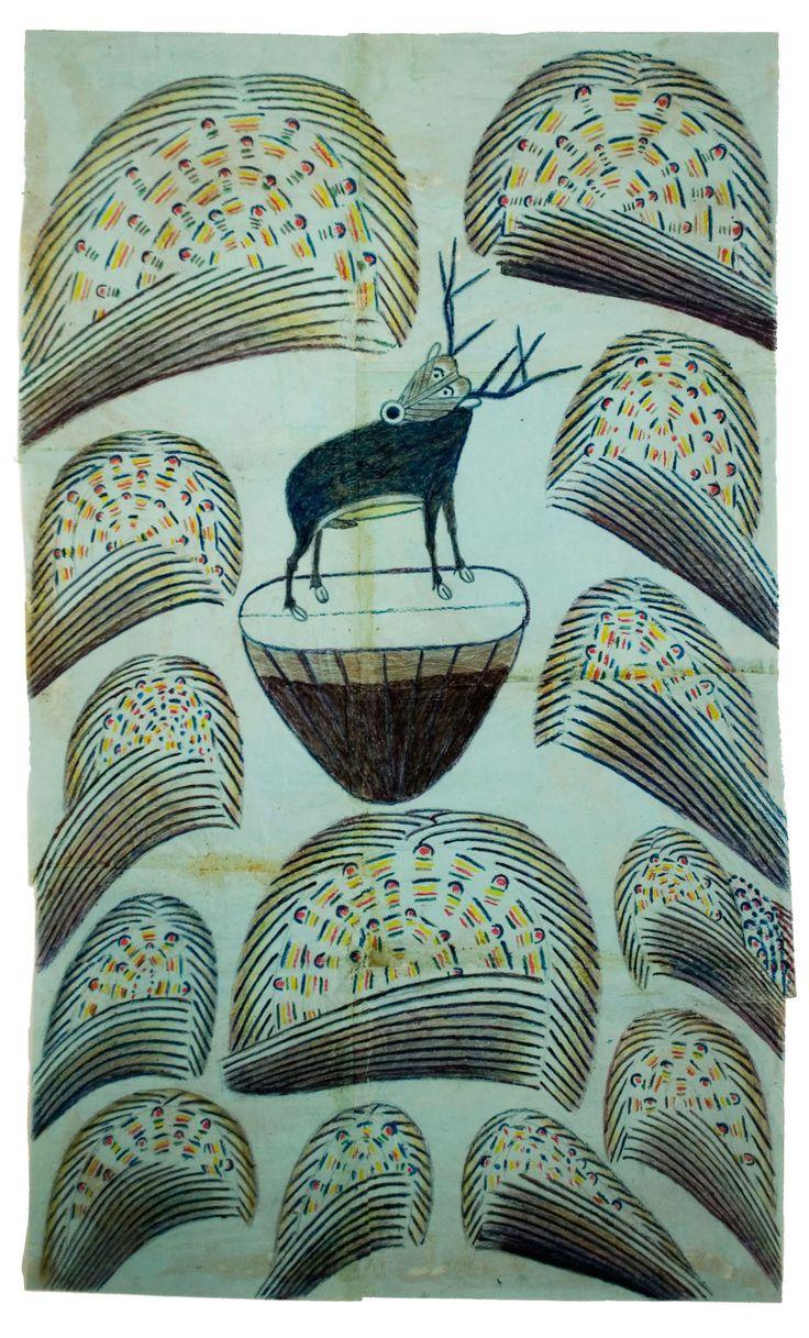 Martin Ramirez ,Bez názvu (Stag na kopci s Fireworks) c.  1952-1953 Graphite, tempera a pastel na papíře 32 x 19 1/2;  81,3 x 49.3 cm