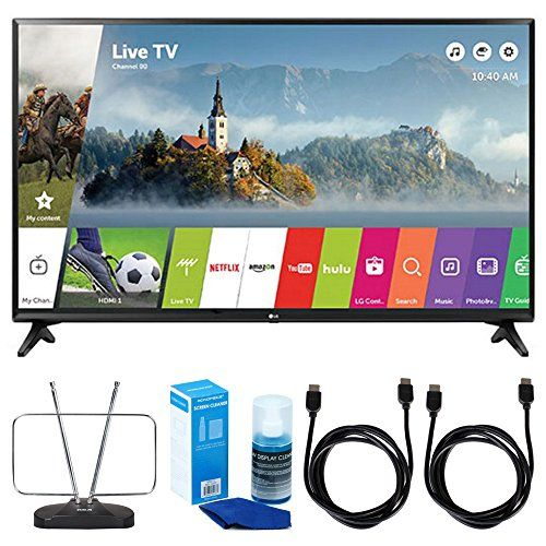 """LG LJ550B Series 32"""" Class Smart LED HDTV (2017 Model) - 32LJ550B w/ TV Cut The Cord Bundle Includes, Durable HDTV & FM Antenna, 2x 6ft. High Speed HDMI Cable & Screen Cleaner for LED TVs  LG AUTHORIZED DEALER - Includes Full LG USA WARRANTY  LG LJ550B Series 32"""" Class Smart LED HDTV (2017 Model)  Enjoy a crisp, flicker-free 720p high-definition picture with enhanced colors for bluer skies, greener grass and more lifelike skin tones, all brought to life with the exceptional brightness ..."""