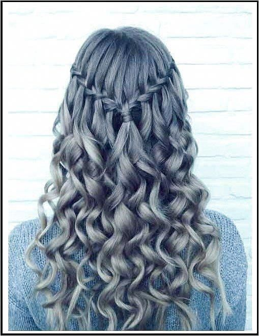 Half Up Half Down Frisuren Wasserfall Braid and Curls #EasyPromHairstyles Klicken Sie für Informationen. #Zopf #WasserfallZopf
